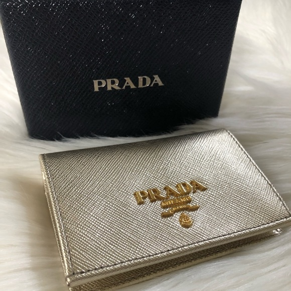 943d14040074 Prada Bags | Saffiano Metal Gold Card Holder Wallet | Poshmark
